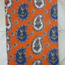 apparese orange designed kalamkari fabric