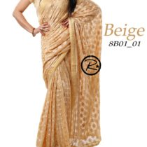 biege phulkari saree on apparese