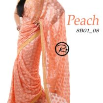 peach phulkari saree on apparese