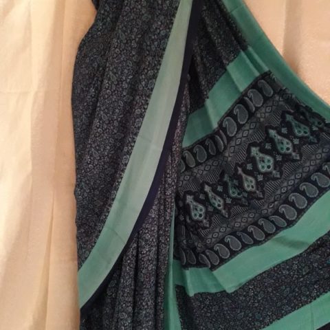 Apparese Green Chinon Saree